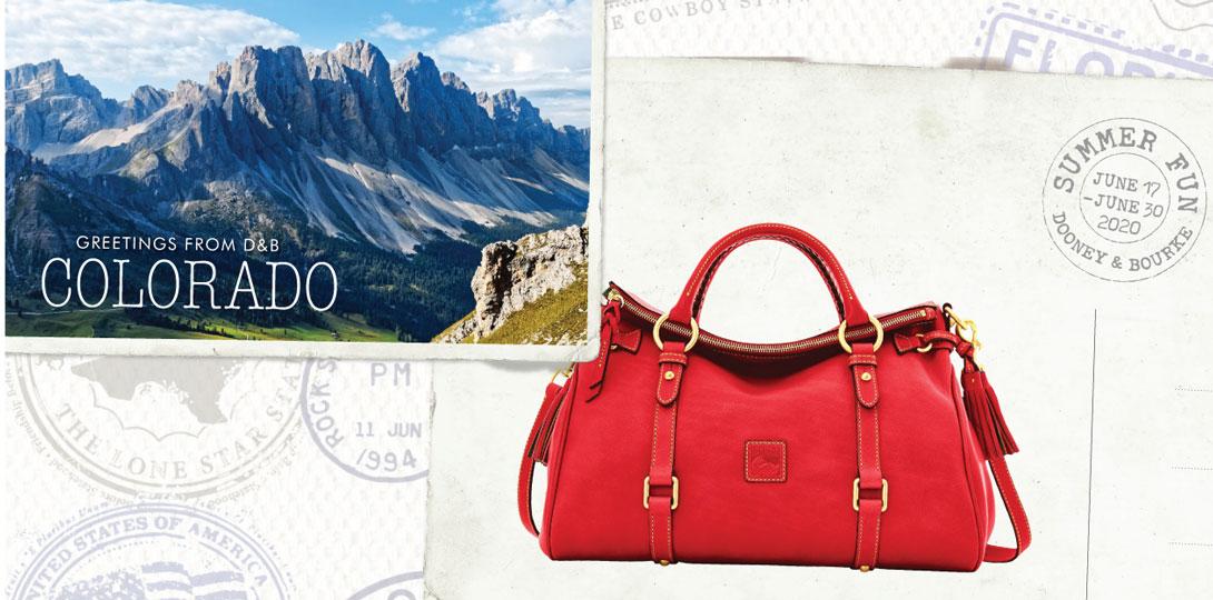 Summer Fun Sale postcards depicting Colorado and the Florentine Medium Satchel